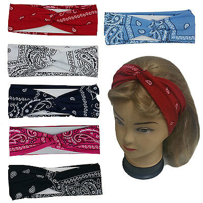 "Bandana Print Headband Women's Yoga Hair Wrap Paisley Twisted 3""  Stretchable"