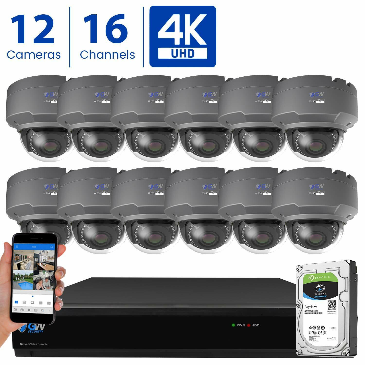 GW 16 Channel 4K DVR  8MP CCTV Varifocal Zoom 4K Dome Securi