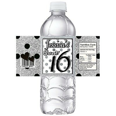 SWEET SIXTEEN SILVER & BLACK BIRTHDAY PARTY FAVORS WATER BOTTLE LABELS WRAPPERS - Sweet Sixteen Favors