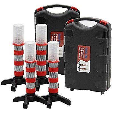 Emergency Roadside Flares Kit Led Safety Strobe Road Warning Light Set Of 4 Pack