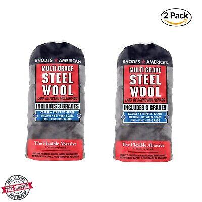 2 Pack Rhodes American Steel Wool Multi Grade - Course #3, Medium #0, Fine #000 Rhodes Steel Wool