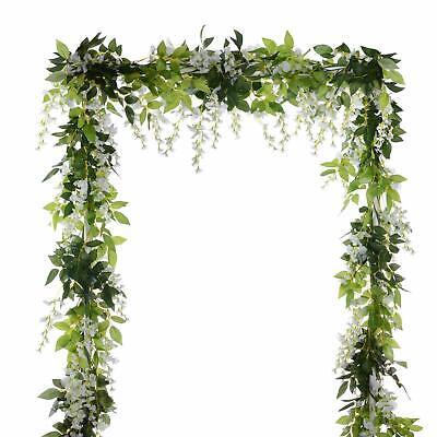4Pcs Artificial Flowers Silk Wisteria Garland Vine Wedding Arch Floral Decor - Garland Flowers