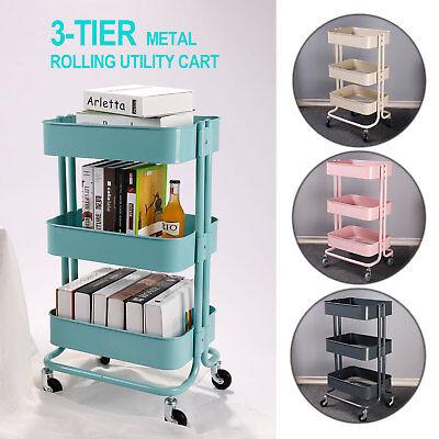 Metal Trolley - 3-Tier Metal Rolling Utility Cart Mobile Storage Organizer Trolley Cart