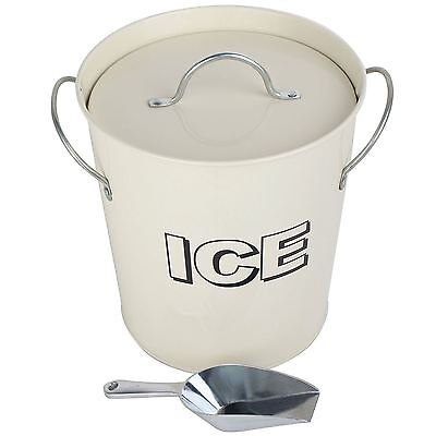 Vintage Retro Party Bar Ice Cooler Holder Bucket Box with Scoop Set - Cream