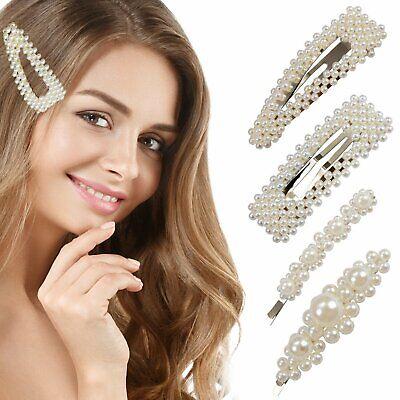 Elegant Pearl Hair Clip Pin Barrettes (4 Pieces) Fashion Hair Accessories Clothing, Shoes & Accessories