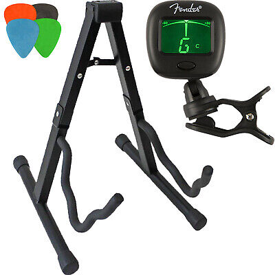 A-Frame Guitar Accessories Kit: Guitar Stand, Tuner, and 4 Assorted Picks.