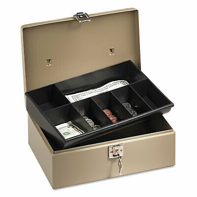 Pm Company Lockn Latch Steel Cash Box W7 Compartments Key Lock Pebble Beige