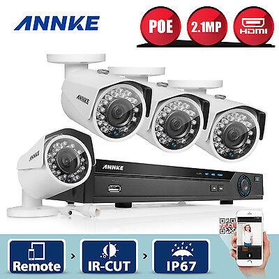 ANNKE 8CH NVR 1080P HD PoE 4 IP Network Surveillance CCTV Security Camera System