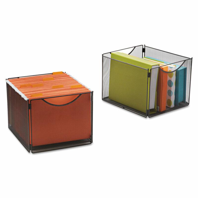 Safco Onyx Mesh Cube Bins 12 1/2w x 14d x 10h Black 2/Pack 2173BL