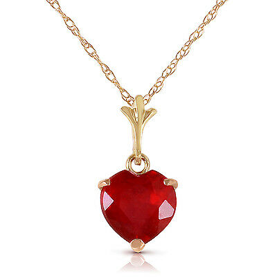 Genuine Red Ruby Heart Gemstone Pendant Necklace 14K. Yellow, White or Rose Gold Gold Ruby Heart Necklace