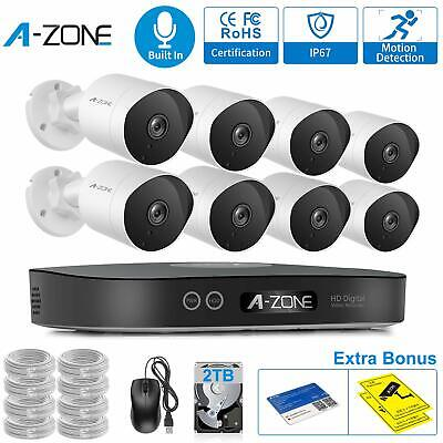 A-ZONE 1080P 8CH NVR POE Security Camera System Outdoor Audio IP CCTV + 2TB HDD