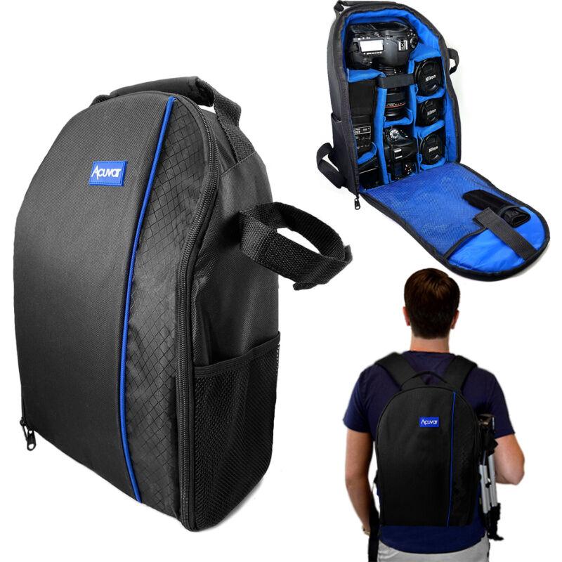 Pro DSLR Camera Case Waterproof Shockproof Backpack Bag for Canon Nikon Sony Blu