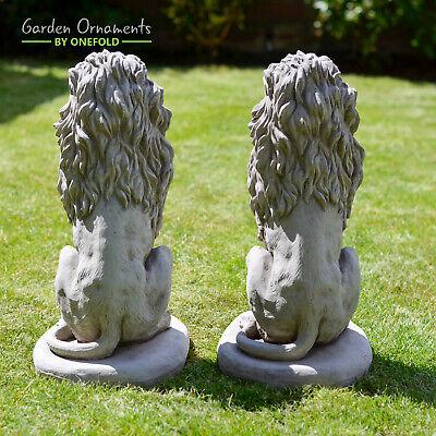 LION PAIR Stone Garden Ornament 40cm Statue Pillar Cap Gate Post ⧫onefold-uk