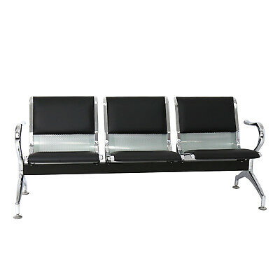 3 Seat Heavy Pu Leather Office Bench Bank Airport Reception Waiting Room Chair