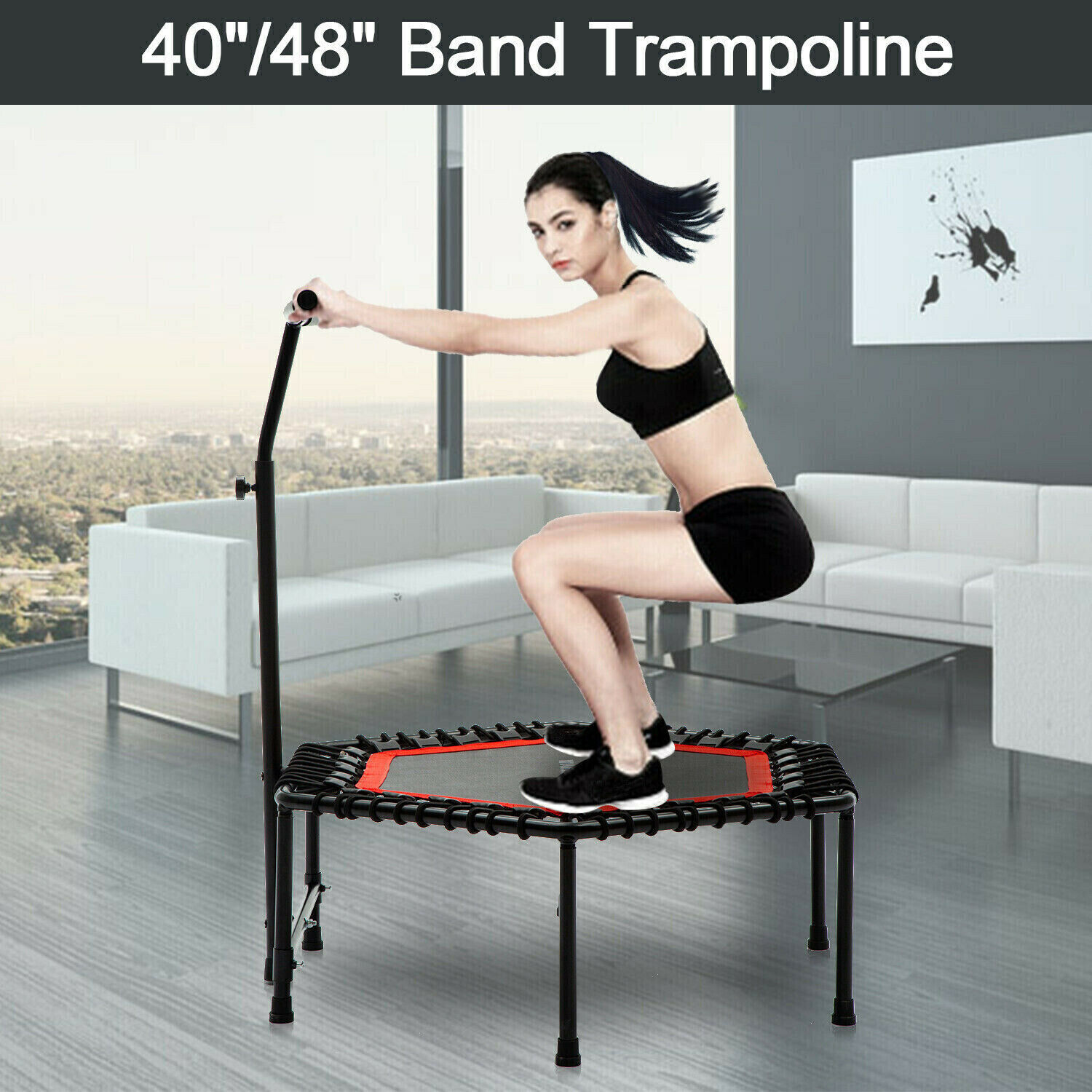 "40""/48"" Mini Rebounder Trampoline Indoor Fitness Gym w/ Adju"
