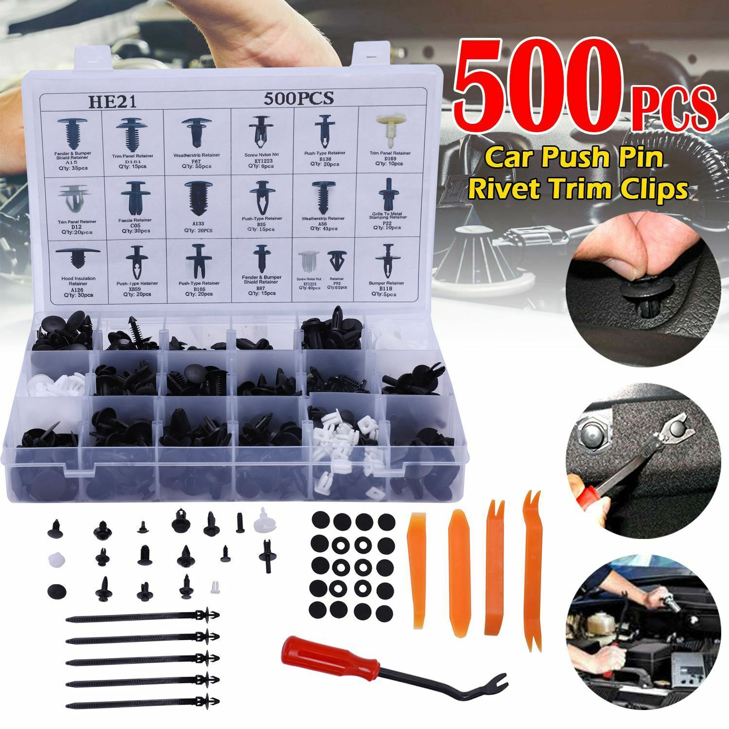 500X Plastic Car Push Pin Rivet Trim Clips Door Panel Fasteners Assortment Set