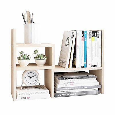 Desktop Organizer Adjustable Wood Display Shelf White Wood Tone