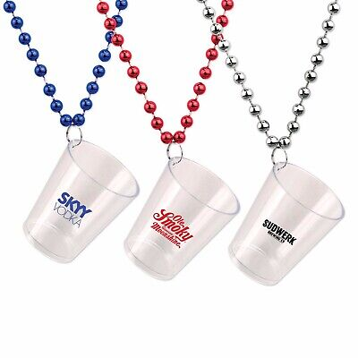 Party Favor custom shot glass necklace beaded plastic disposable promotional](Customized Plastic Shot Glasses)