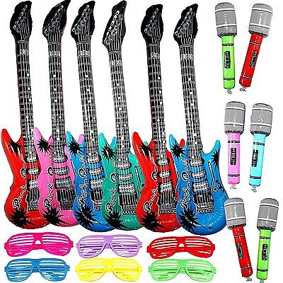 Inflatable Rock Star Toy Set - 6 Electric Guitar (38 Inches), 6 Microphones and - Inflatable Microphones And Guitars