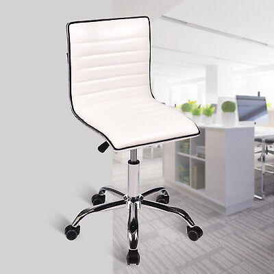 Executive Swivel Office Chair Pu Leather Ribbed Computer Desk Task Mid-back Seat