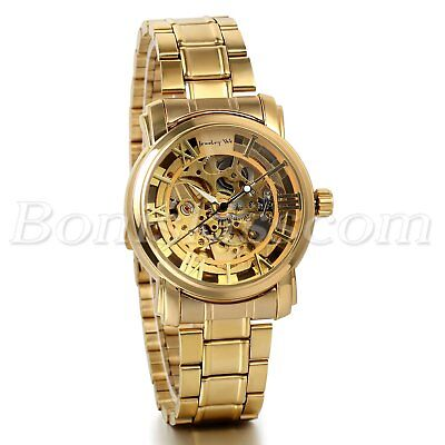 Mens Luxury Gold Tone Stainless Steel Skeleton Automatic Mechanical Wrist Watch