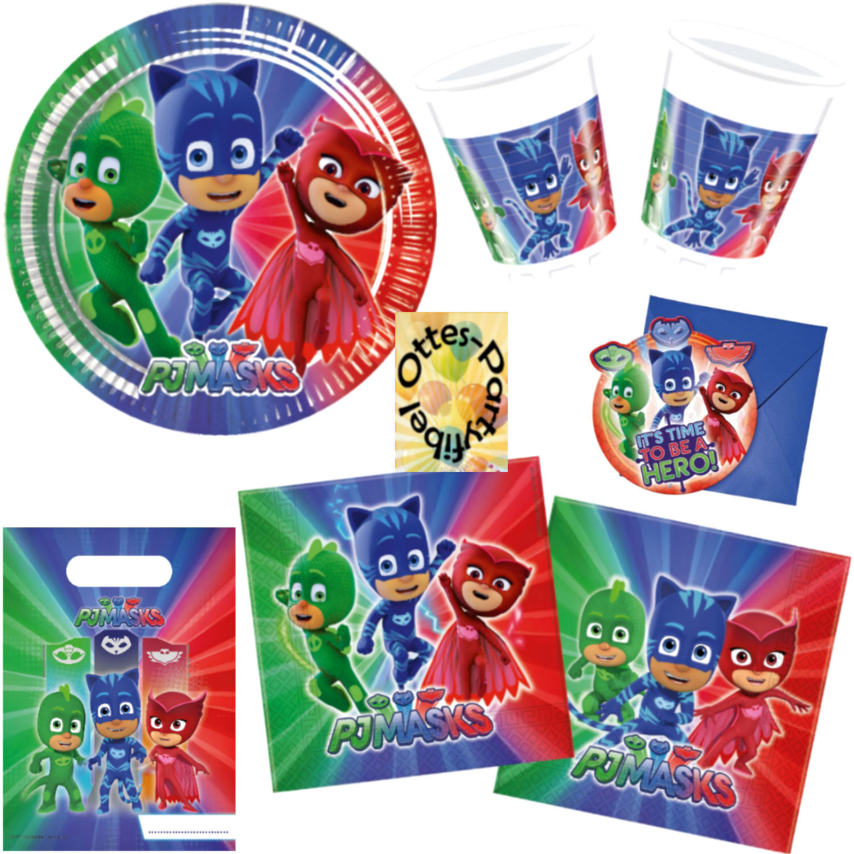 PJ Masks Party Set Teller Becher Einladungen Ballon Servietten Kinder Geburtstag