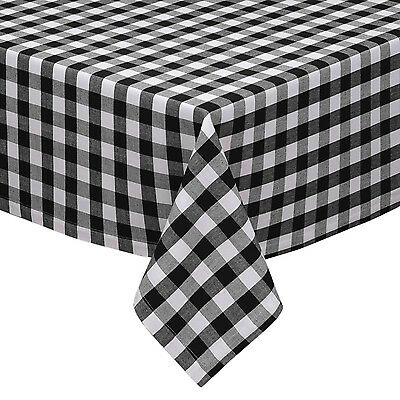 Black And White Checkered Tablecloth (Black & White Cotton Rich Checkered Kitchen Tablecloth: Gingham/Plaid Design)