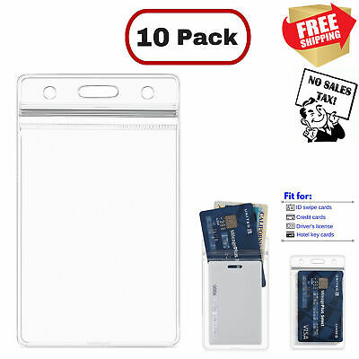 10Pcs ID Card Holder Clear Plastic Badge Resealable Waterproof Business Case