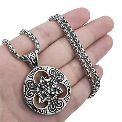 Men Women Large Celtic knot Magic Triquetra Pendant Stainless Steel Necklace - Stainless Steel Celtic Knot