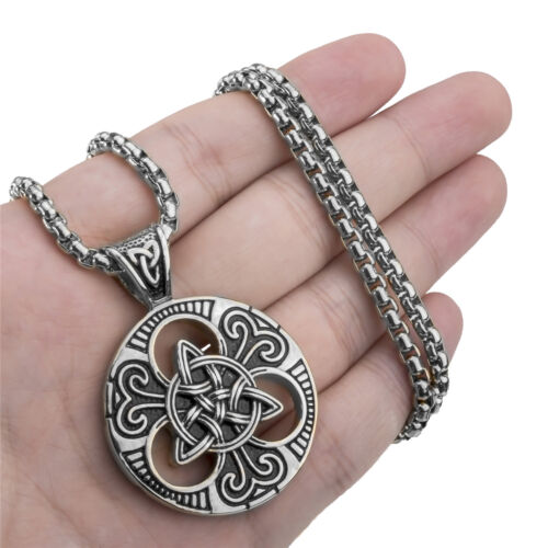20-28inch Elfasio Celtic Knot Magic Both Sided Pendant Necklace Mens Stainless Steel Box Chain Jewelry