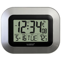 WT-8005U-S La Crosse Technology Atomic Digital Wall Clock IN Temperature & Date