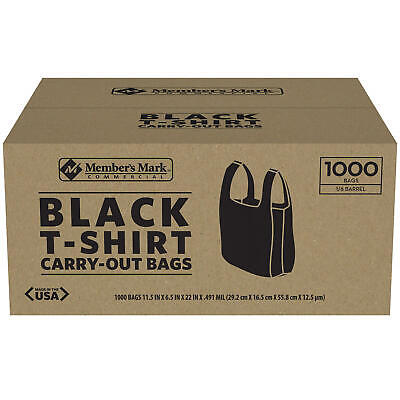 Members Mark Black T-shirt Carryout Bags 1000 Ct. Size 11.5 X 6.5 X 22