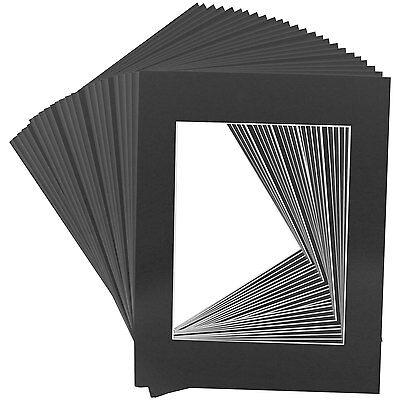25 Art Mats Premier Quality Acid-Free Pre-Cut 11x14 Black Picture Mat Face Frame