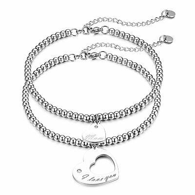 2pcs Women's Stainless Steel Mother Daughter Heart Beaded Chain Bracelet