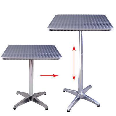 New Square Pub Bar Table Adjustment Home Silver Aluminum Indoor Outdoor Patio