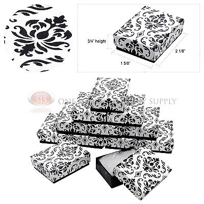 """12 Black Damask Print Cotton Filled Cardboard Jewelry Gift Boxes 2 1/8"""" x 1 5/8"""""""