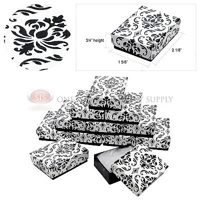 12 Black Damask Print Cotton Filled Cardboard Jewelry Gift Boxes 2 18 X 1 58