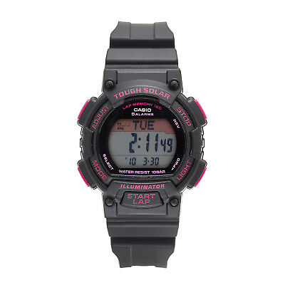 300 Black Resin Watch - Casio Ladies' Tough Solar Runners Pink Accent Black Resin 36mm Watch STLS300H-1C