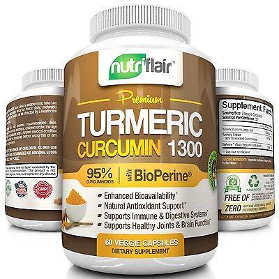Turmeric Curcumin Root W  Bioperine   1300Mg  95  Curcuminoids  60 Capsules