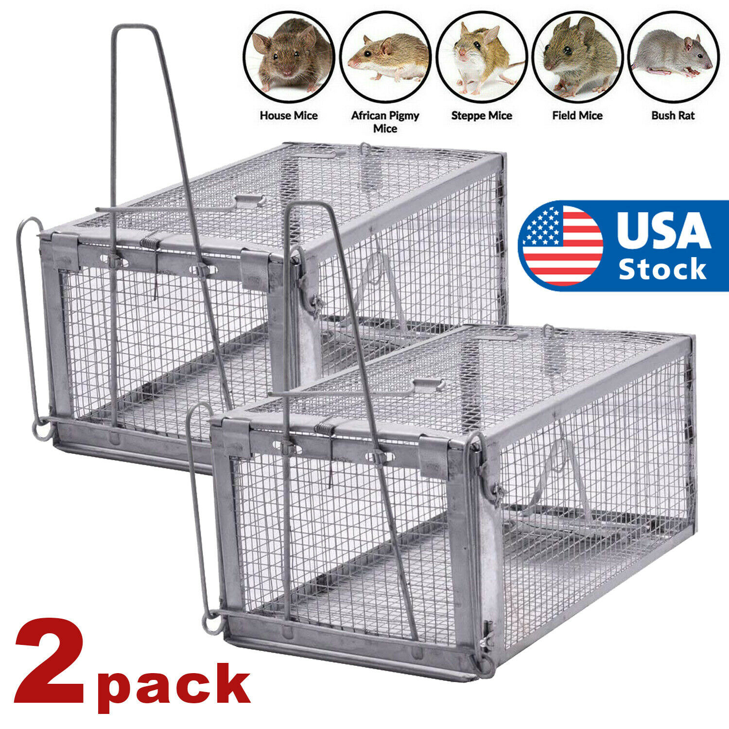 2x Rat Trap Cage Small Live Animal Pest Rodent Mouse Control Catch Hunting Trap Animal & Rodent Control