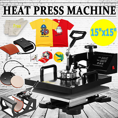 "15""x15"" T-Shirt Heat Press Machine Transfer Kit Sublimation Digital Swing Away"