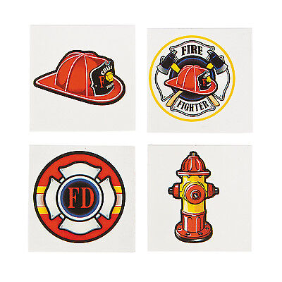 FIREFIGHTER PARTY Tattoos Temporary Fireman Tattoo Favour Pack of 36 Free Post - Firefighting Tattoos