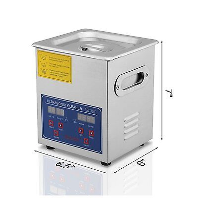 2 L Stainless Steel Ultrasonic Cleaner Large Timer Cleaning Bracket 110v