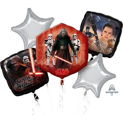 Star Wars Force Awakens Foil Balloon Bouquet Display Birthday Party 5 Balloons