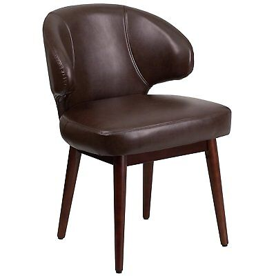 Brown Leather Reception-lounge-office Chair With Walnut Legs Flash Furniture