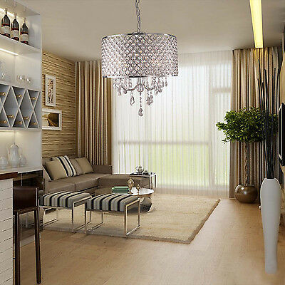 Modern Crystal Chandelier Ceiling Light Pendant Fixture Drum Lamp Shade 4 lights