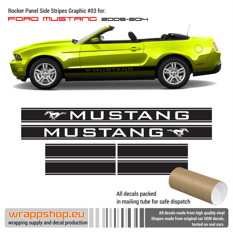 Details about Ford Mustang 2005 - 2014 Side Rocker Panel Stripes Design#3