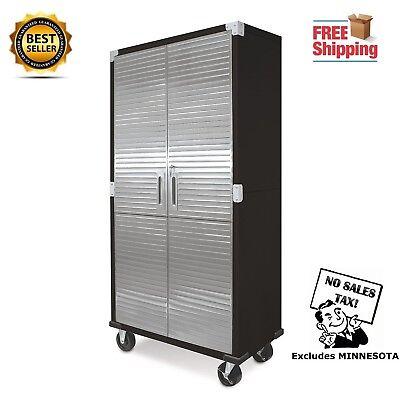 Metal Rolling Garage Aid File Storage Cabinet Stainless Steel Doors 3 Shelves