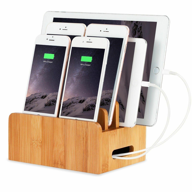 Tablet Cellphone Organizer Stand Holder Docking Station Wood