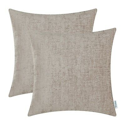 2Pcs Taupe Cushion Cover Pillow Shell Case Solid Dyed Soft Chenille Decor 18X18